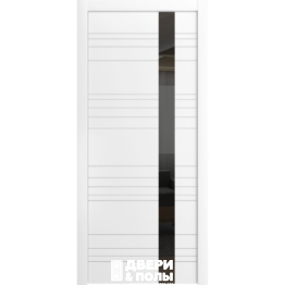 межкомнатная Корсо ЛП 14 Эмаль белая стекло лакобель черное
