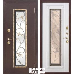 дверь со стеклопакетом и ковкой Плющ Антик медь Ясень белый